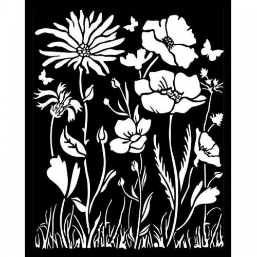 Stencil Stamperia Mix Media Art 25 x 20 cm. - Atelier Des Arts Poppy & Flower