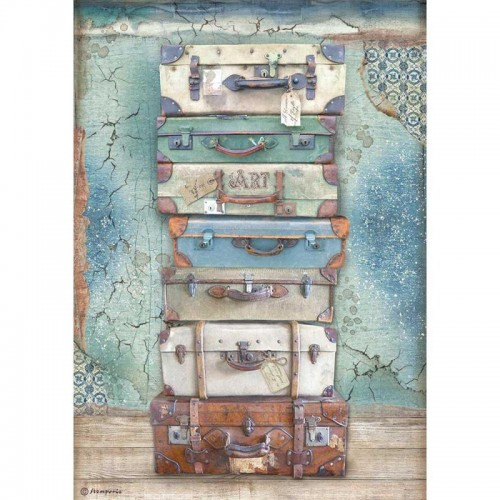 Papel de arroz A4 Atelier Des Arts Luggage - Stamperia