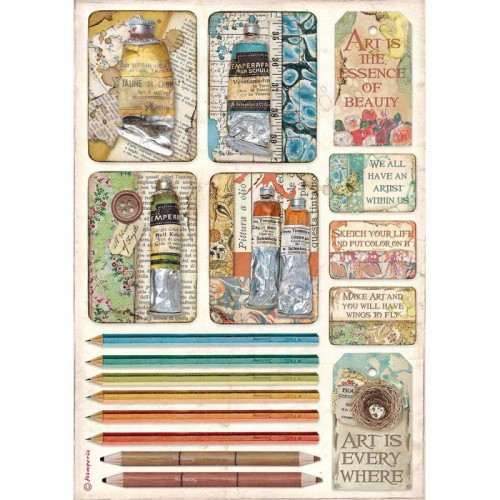 Papel de arroz A4 Atelier Des Arts Tubes Of Paints & Pencils - Stamperia