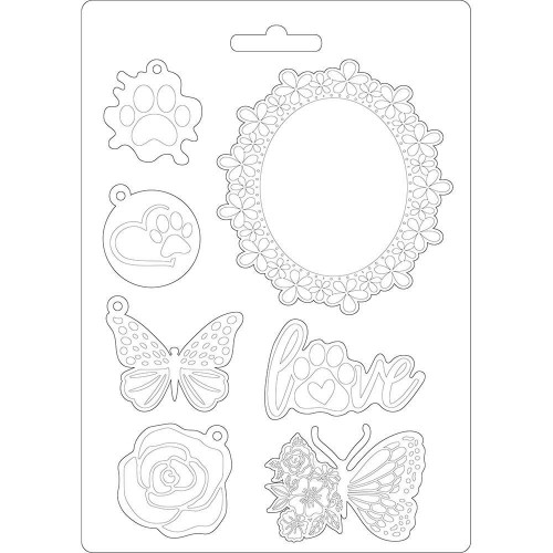 Moldes para Mix Media Stamperia - Circle of Love Frame and Butterfly