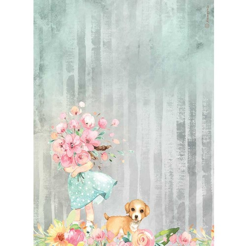 Papel de arroz A4 Circle of Love Bouquet and Dog - Stamperia