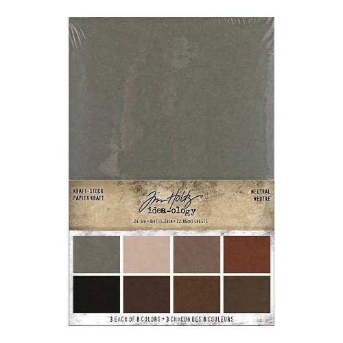 Kit de papeles Idea-ology Tim Holtz Kraft-Stock Stack Neutral