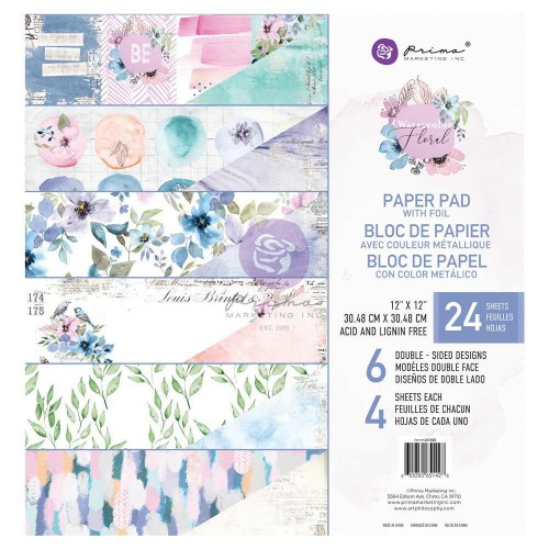 "Kit de papeles 30x30 ""Watercolor Floral"" Prima"