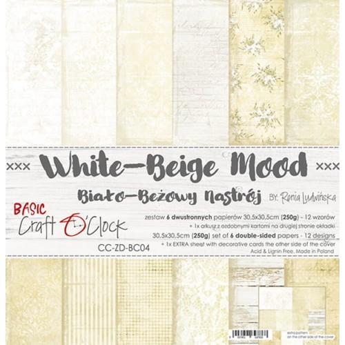 "Craft O'Clock Kit de papeles ""White-Beige Mood"" 30 x 30 cm."