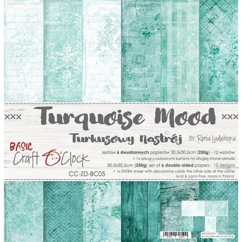 "Craft O'Clock Kit de papeles ""Turquoise Mood"" 30 x 30 cm."
