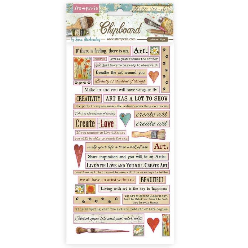 Chipboard Stamperia - Atelier Quotes