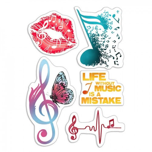 """CLEAR STAMP SET 4""""X6"""" MUSIC LIFE"""