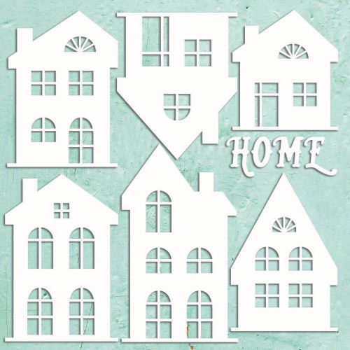 Mintay Papers Chipboard - Houses Set 7 pzs.