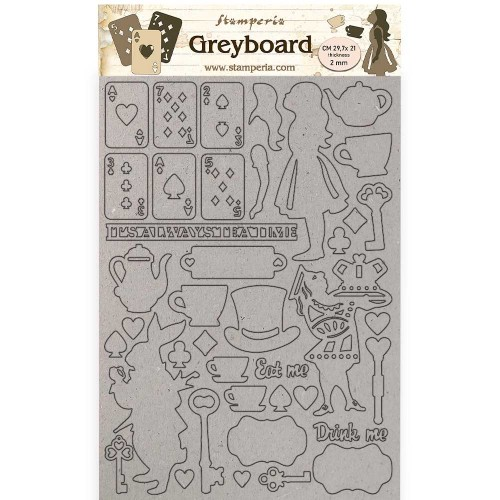 A4 Greyboard 2 mm. Alice Elements - Stamperia