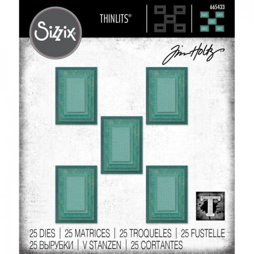 Set 25 troqueles Sizzix THINLITS Stacked tiles Rectangles by Tim Holtz