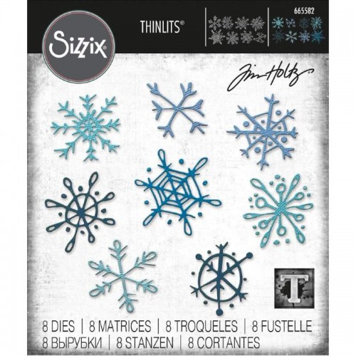Set 8 troqueles Sizzix THINLITS Scribbly Snowflakes by Tim Holtz