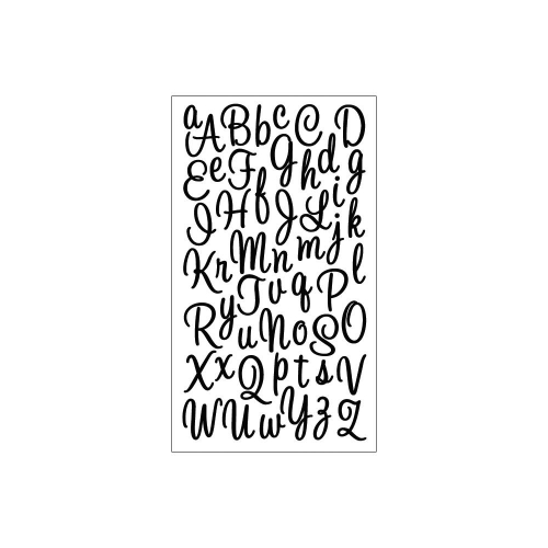 EK SUCCESS - Alphabet Stickers. Script Small Glitter Black
