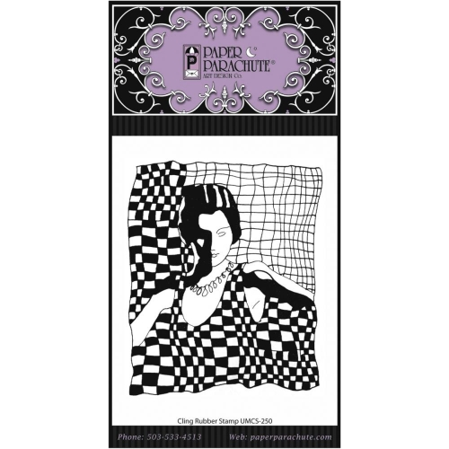Paper Parachute-Cling Rubber Stamps. Checkerboard Lady