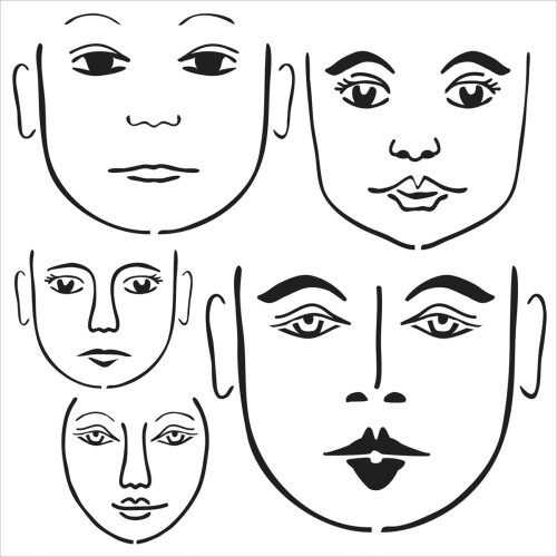 CRAFTERS WORKSHOP-Template. 15 X 15 cm. Many Faces