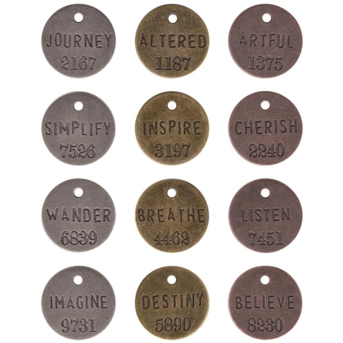 Tim Holtz Idea-Ology Philosophy Tags. Nickel, Brass & Copper.