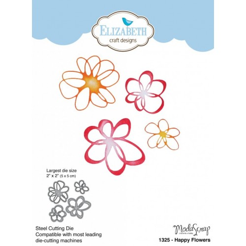 Elizabeth Craft Design Happy Flowers Wafer Thin Metal Die