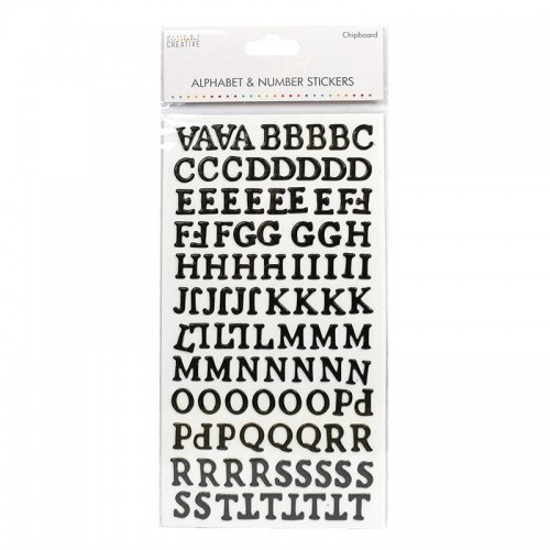 Alphabet & Number Stickers Simply Creative - Traditional Chipboard Black