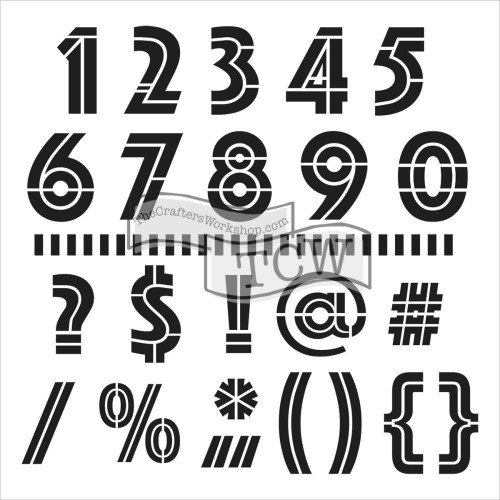 CRAFTERS WORKSHOP-Template. Art Deco Numbers & More 15 x 15