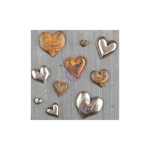 Finnabair Mechanicals Metal Embellishments - Tin Hearts