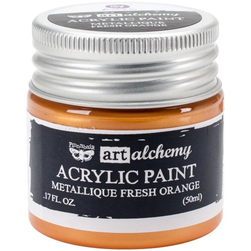 Finnabair Art Alchemy Acrylic Paint - Metallique Fresh Orange