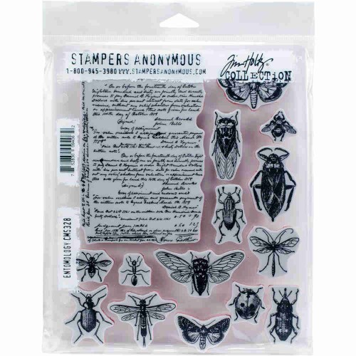 Tim Holtz: Red Rubber Stamp Set. Entomology.